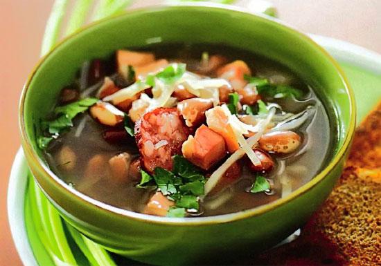 рецепт супа из охотничьих колбасок с фасолью