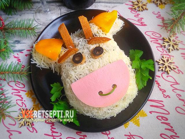 Праздничный салат в виде бычка фото