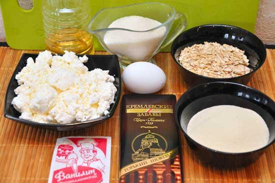 Ингредиенты для шоколадных сырников