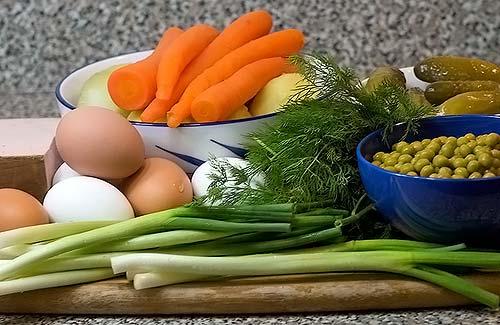 Классический набор продуктов для оливье