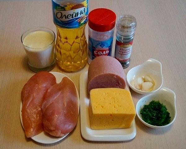 Ингредиенты для куриных рулетов