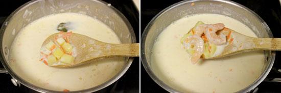 приготовления сырного супа с креветками