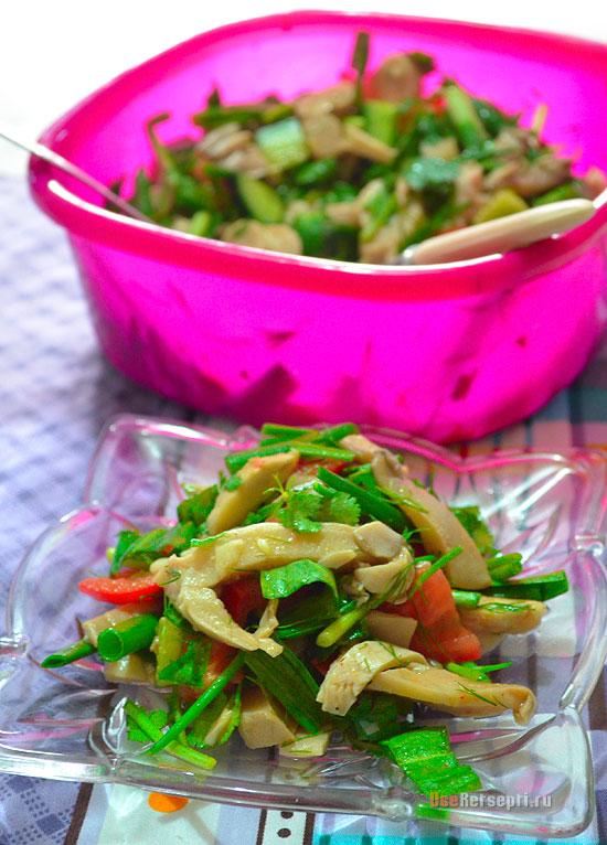 Весенний салат с грибами