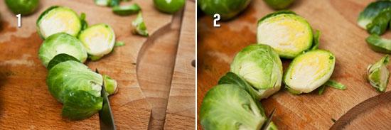 Нарезать брюссельскую капусту пополам
