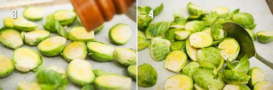 Выложить капусту на противень, посолить, поперчить и полить маслом