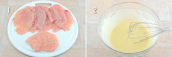 Отбить куриное филе и приготовить кляр