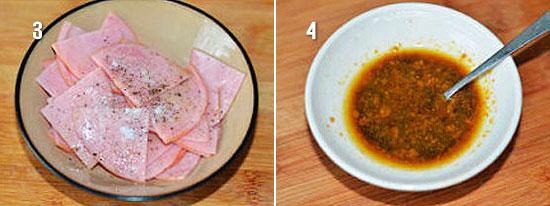 Нарезанная колбаса и соус для картофеля
