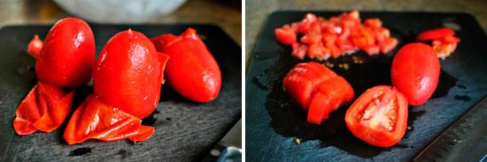 Отделение помидор от кожи и способ нарезки