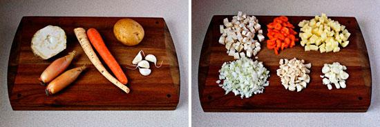 Продукты для супа и способ нарезки