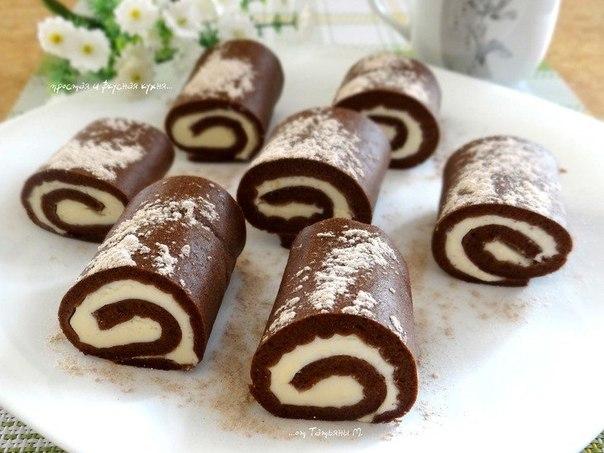 Шоколадные рулеты со сливочной начинкой