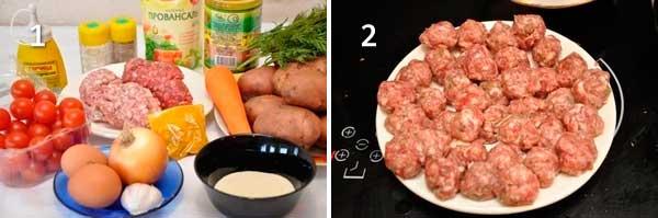 Овощная запеканка с мясными фрикадельками