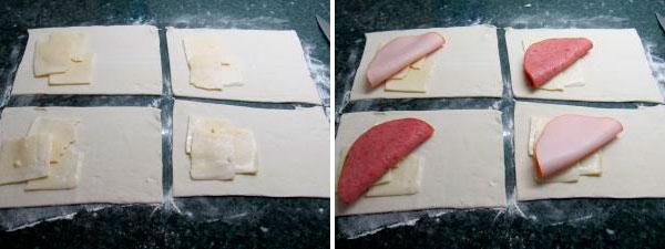 Слоеные пирожки с колбасой и сыром