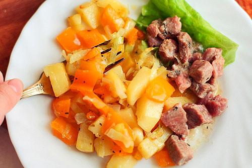 Мясо тушеное с овощами рецепт