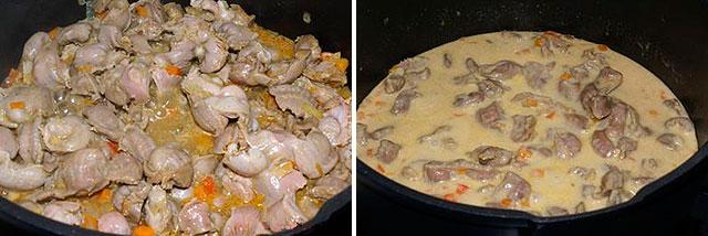 Куриные потроха с овощами в соусе