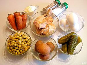 Ингредиенты для салата Столичный