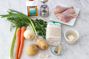 Продукты для перлового супа с курицей