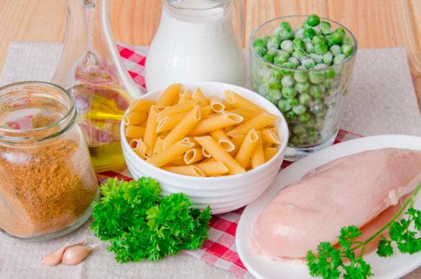 Ингредиенты для макарон с курицей