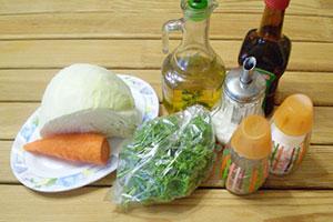 Ингредиенты для салата из капусты и моркови