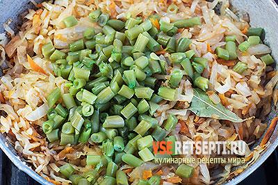 Капуста тушеная со стручковой фасолью и зеленым горошком – постный рецепт