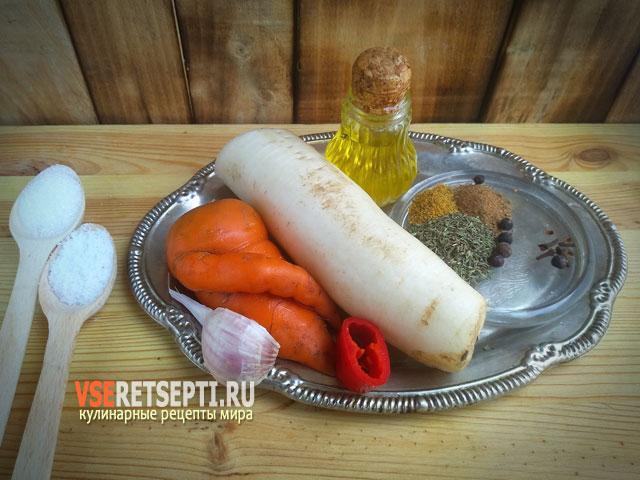 Продукты для приготовления салата дайкон
